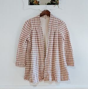 Knitted & Knotted Gingham Open Front Cardigan
